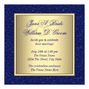 Royal blue and gold wedding invitations zazzle royal blue and gold wedding invitation stopboris Choice Image