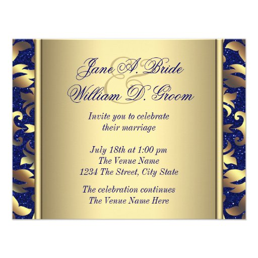 Blue And Gold Wedding Invitations 007 - Blue And Gold Wedding Invitations