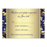 Royal Blue and Gold Wedding RSVP Personalized Announcements