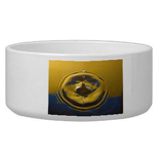Royal blue and Golden Yellow Water Drop Dog Bowls