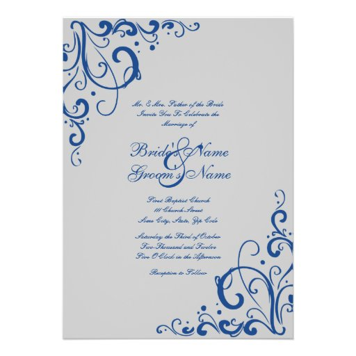Blue White And Silver Wedding Invitations is great invitations example