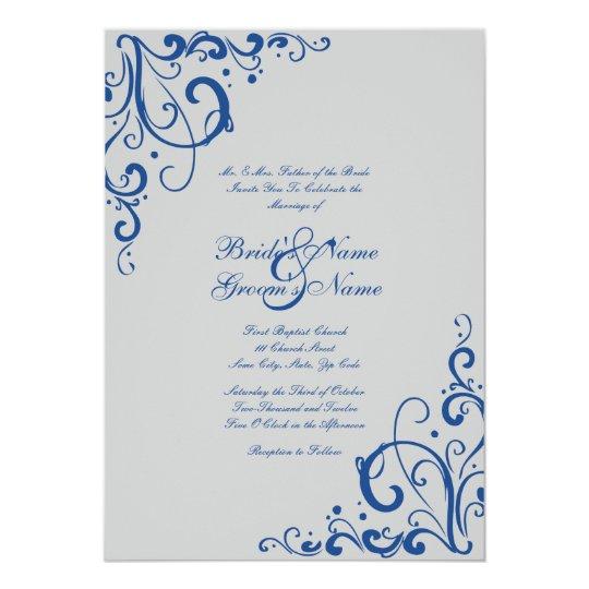 royal blue and gray flourish wedding invitation zazzle. Black Bedroom Furniture Sets. Home Design Ideas