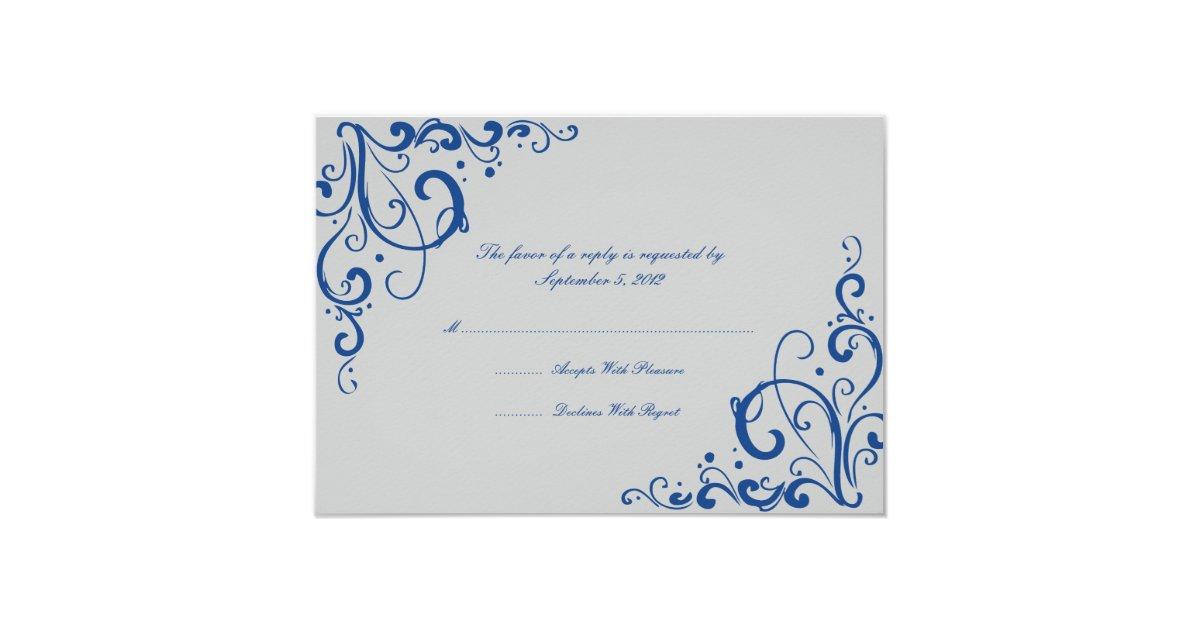 royal blue and gray flourish wedding rsvp card zazzle. Black Bedroom Furniture Sets. Home Design Ideas