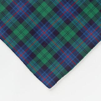 Royal Blue and Green Armstrong Clan Tartan Fleece Blanket