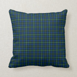 Royal Blue and Green MacEwan Clan Scottish Plaid Throw Pillow