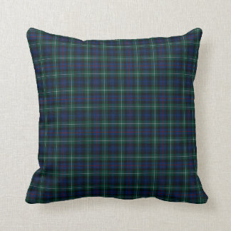Royal Blue and Green Mackenzie Clan Scottish Plaid Throw Pillow