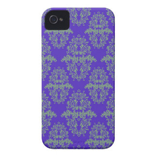 Royal Blue and Green Vintage Damask Style Pattern iPhone 4 Cases