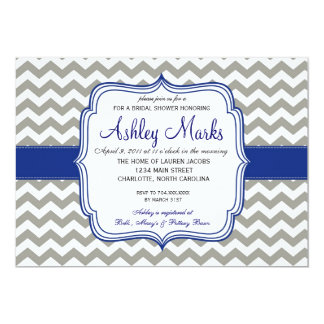 Royal Blue and Grey Chevron Invitaiton Card