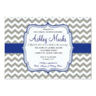 Royal Blue and Grey Chevron Invitaiton Personalized Invitations