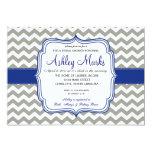 Royal Blue and Grey Chevron Invitaiton 5x7 Paper Invitation Card
