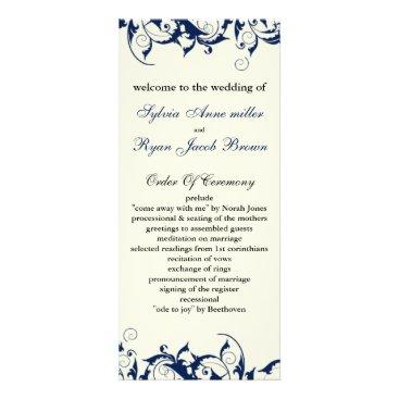 royal blue and ivory Wedding program