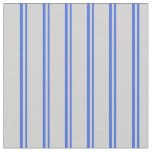 [ Thumbnail: Royal Blue and Light Grey Colored Striped Pattern Fabric ]
