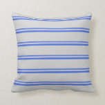 [ Thumbnail: Royal Blue and Light Grey Colored Striped Pattern Throw Pillow ]