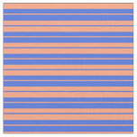 [ Thumbnail: Royal Blue and Light Salmon Lines Fabric ]