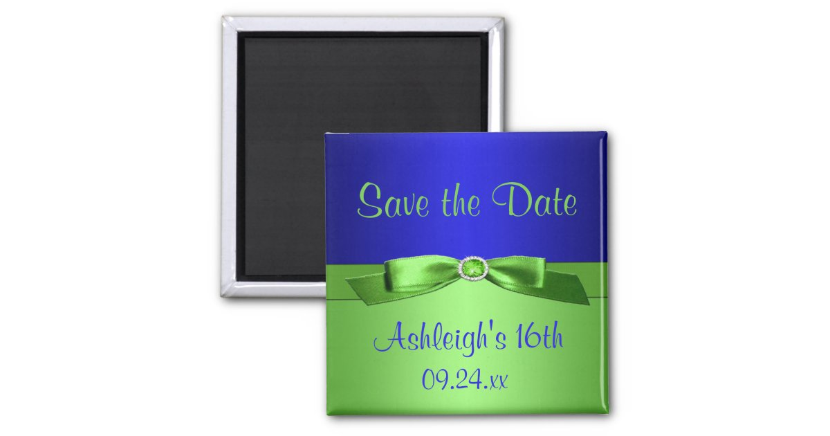 Royal Blue And Lime Green Wedding Invitations: Royal Blue And Lime Green Save The Date Magnet