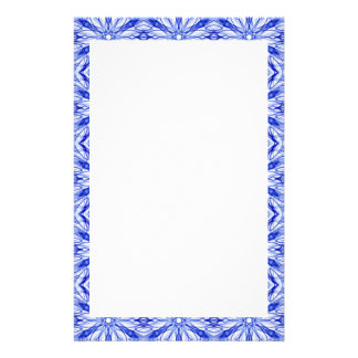 Royal Blue and Mid Blue Fractal Pattern Stationery
