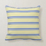 [ Thumbnail: Royal Blue and Pale Goldenrod Pattern Throw Pillow ]