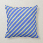 [ Thumbnail: Royal Blue and Pale Goldenrod Stripes Throw Pillow ]