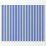[ Thumbnail: Royal Blue and Pale Goldenrod Stripes Wrapping Paper ]