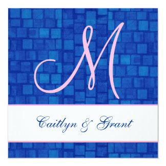 Royal Blue and Pink Damask Monogram Wedding Z201Q Card