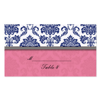 Royal Blue and Pink Damask Placecards Double-Sided Standard Business Cards (Pack Of 100)