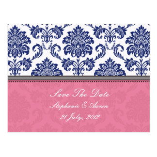 Royal Blue and PInk Damask Save The Date Postcard