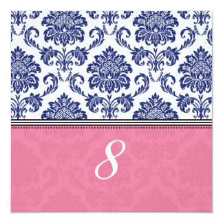 """Royal Blue and Pink Damask Table Number 5.25"""" Square Invitation Card"""