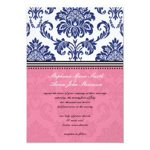 Royal Blue And Pink Damask Wedding Invitation