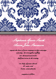 Royal Blue And Pink Wedding Invitations Zazzle