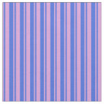 [ Thumbnail: Royal Blue and Plum Striped Pattern Fabric ]