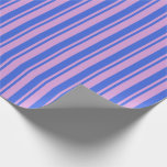 [ Thumbnail: Royal Blue and Plum Striped Pattern Wrapping Paper ]