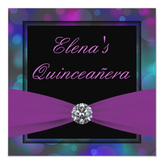 Royal Blue and Purple Quinceanera Card
