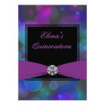 Royal Blue and Purple Quinceanera Custom Announcement