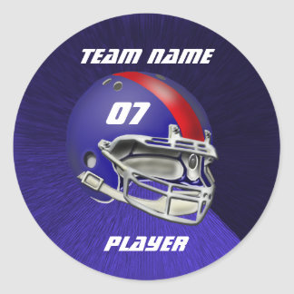 Royal Blue and Red Football Helmet Classic Round Sticker