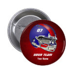 Royal Blue and Red Football Helmet Pin