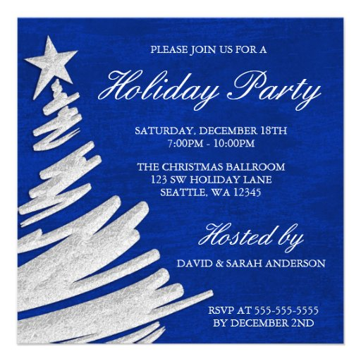 Royal Blue And Silver Christmas Tree Holiday Party Invites