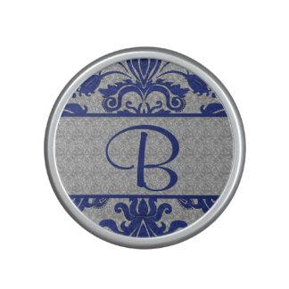 Royal Blue and Silver Damask   Monogram Speaker
