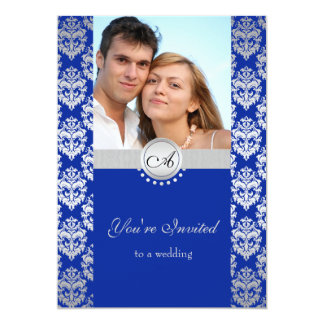 Royal Blue and Silver Damask Wedding invites
