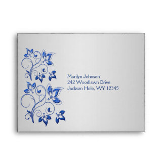 Royal Blue and Silver Envelope for RSVP Card