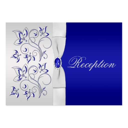 Royal blue and silver floral enclosure card large business