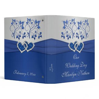 Royal Blue and Silver Floral Joined Hearts Binder binder