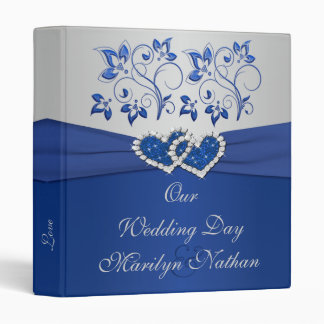 Royal Blue and Silver Floral Joined Hearts Binder