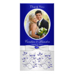 Royal Blue and Silver Floral Photo Card