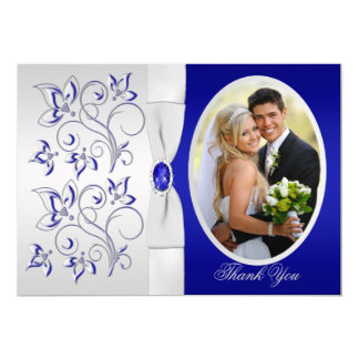 Royal Blue and Silver Floral Photo Thank You Card