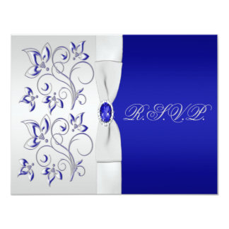 Royal Blue and Silver Floral Reply Card