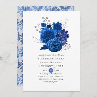 Royal Blue & Silver Online Virtual Wedding Invitations, Floral