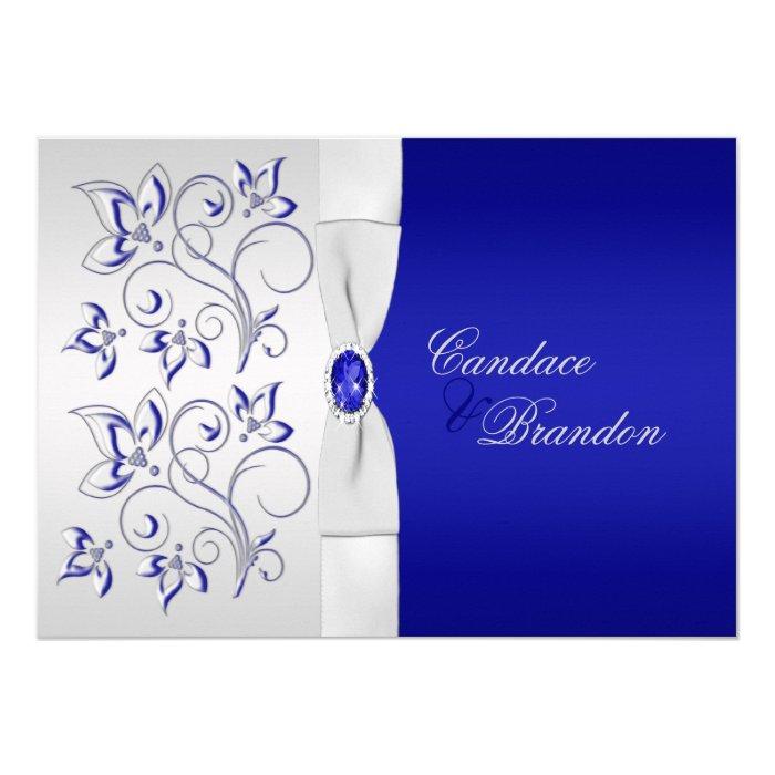 Royal Blue and Silver Floral Wedding Invitation | Zazzle