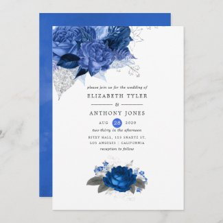Royal Blue and Silver Wedding Invitation templates Floral