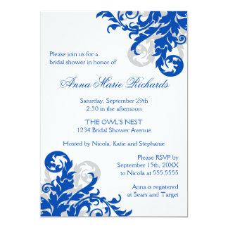 Royal Blue and Silver Flourish Bridal Shower Card
