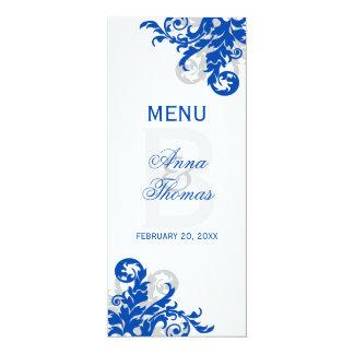 "Royal Blue and Silver Flourish Menu Card 4"" X 9.25"" Invitation Card"